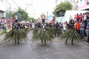 Una de las comparsas que participaron en el carnaval en Villa Francisca.