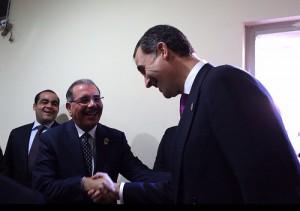 El presidente Medina durante el encuentro de mandatarios efectuado antes de la juramentación del nuevo presidente de Honduras, Juan Orlando Hernández Alvarado.