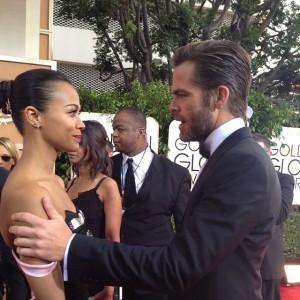 La actriz dominicana Zoé Saldaña junto al actor Chris Pine en la alfombra de los Globos de Oro. [Crédito de imagen: Instagram/GoldenGlobes]