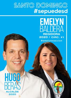 Emelyn Baldera Regidora y Hugo Veras Alcalde Santo Domingo 2020